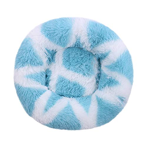 Xiajie - Cama para mascotas, diseño de gato y perro, diseño de donut para perro y gato, calentamiento automático y mejorado, cojín ortopédico de piel sintética (70, rayas azules)