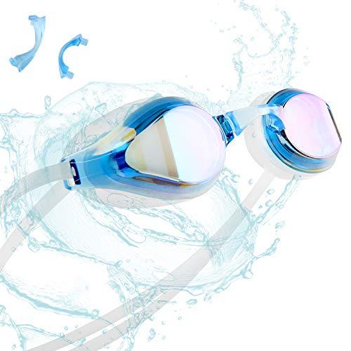 ZetHot Schwimmbrille, kein Leck, Antibeschlag UV-Schutz Triathlon für Erwachsene Männer Frauen Jugendliche Kinder Kind. (Blau)