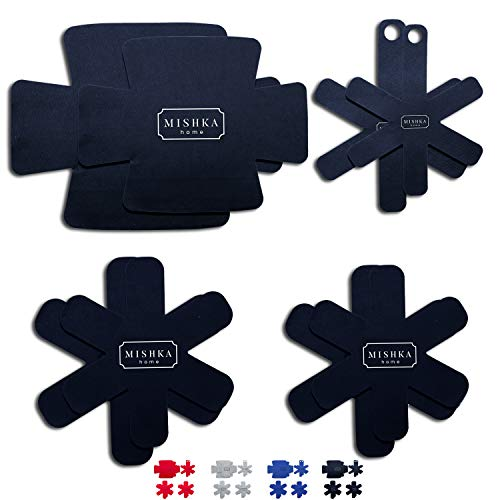 MISHKA Home Pot & Pan Protectors for Stacking – (P1-BLACK) – Felt Cookware Protectors & Pot Separators for Stacking Pans Pots Glass Bowls & Bakeware – Attractively Gift Boxed Set of 8 in 7 Sizes