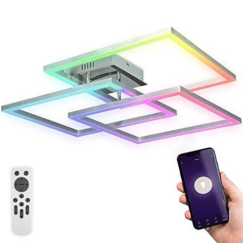 B.K.Licht Plafoniera LED smart WiFi, App e telecomando, controllo vocale, dimmerabile, CCT luce calda, neutra, fredda, colorata RGB, iOS & Android
