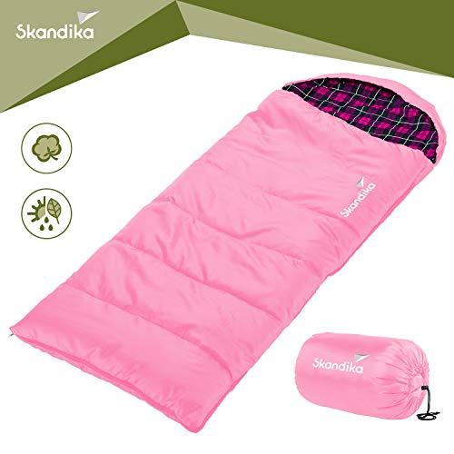skandika Dundee Junior Kinder-Schlafsack 175x70cm komfortable Deckenform kuscheliges Baumwoll-Flanell-Innenfutter wasserabweisendes Außenmaterial (pink)