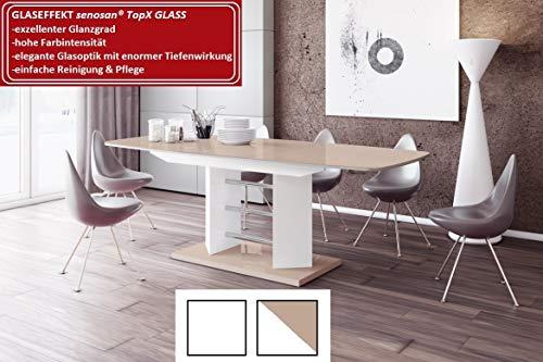 Design Esstisch Tisch HE-222 Cappuccino/Weiß Hochglanz ausziehbar 160 bis 256 cm