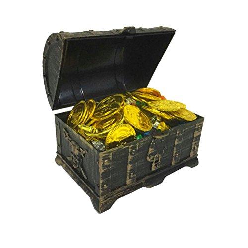 STOBOK 205 Stück Holz Schatztruhe Kinder Schatzkiste Holztruhe Vintage Schmuckschatulle Kleine Schmuckbox mit Goldmünzen Edelstein Ohrring Ringe