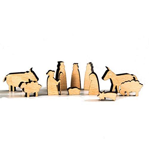 lisel-de Mini Krippe aus Holz mit 11 Krippenfiguren - Krippe für Kinder oder als Weihnachtsdeko