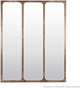 Delamaison Miroir fenêtre triptyque en métal rectangulaire 120x95cm Teke Ambré
