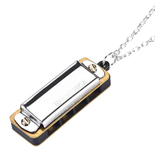 Zetiling Mini Harmonica, Necklace Toy Harmonica Portable Music Instrument Tool for Both Kids and Adults(#5)