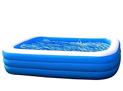 "Amy & Delle Inflatable Kiddie Swimming Pool - Blow Up Family Lounge Above Ground Swim Center Large Size 120"" x 72"" x 22"" Perfect for Summer Outdoor Backyard Porch Garden Water Party Ages 3"
