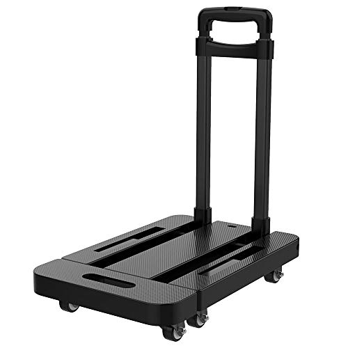 Upgraded 2020 Utility Folding Hand Truck Dolly Cart with Carrying Capacity 440LBS. 6 Wheels, 360 Rotating Portable Heavy Duty Platform Trolley Cart for Shopping, Moving, Travelling, Luggage and Office