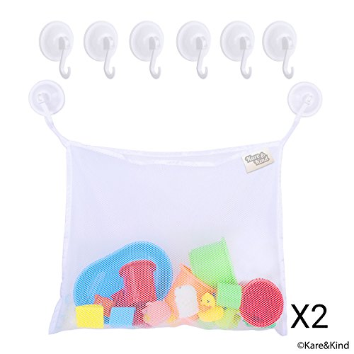 2 Pack Baby Bath Toy Storage Bag Bathroom Organiser Net Mesh Bags with Multiple Pockets and Strong Suction Cups MSTG Tech Bath Toy Organizer Mesh