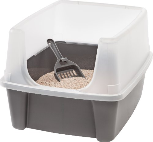 IRIS Open Top Cat Litter Box Kit with Shield and Scoop, Gray