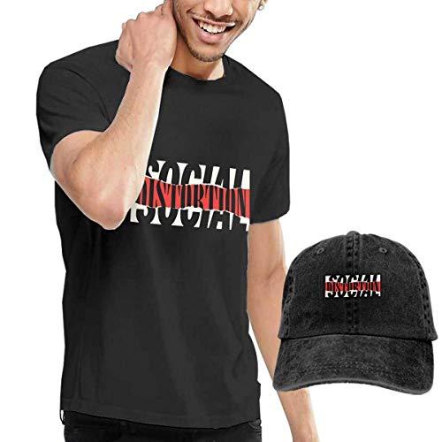 AOCCK Herren Kurzarmshirt Mens Funny Social Distortion Logo Tshirts and Washed Denim Hat Casquette Black