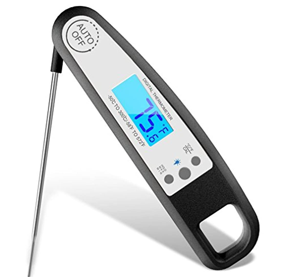 LUCKY-U Food Thermometer, Digital Meat Thermometer, Instant Read Cooking Thermometer,Black