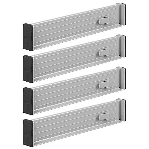mDesign 4er-Set Schubladen-Organizer – dank verstellbarer Trennelemente Schublade organisieren – Schubladeneinsatz für Küche, Bad oder Schlafzimmer – hellgrau