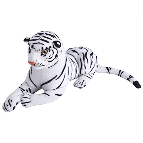 Almohada Artificial Felpa Tigre Simulación Realista Animal Blanco Suave Juguete para Niños Regalo de Cumpleaños 30 cm / 11.81 Pulgadas