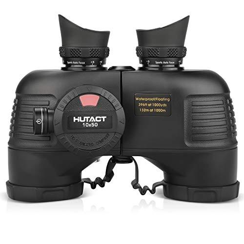 HUTACT 10x50 Prismáticos Binoculares para Adultos con Control Remoto y brújula, binoculares compactos para observación de Aves