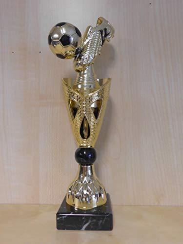 Fanshop Lünen Kicker - Fußball - Tischfußball - Pokal mit Schuh - (Gold) - Pokale - Turnier - Kids - Trophäe - Sportpokale - mit Gravur - (A326) -