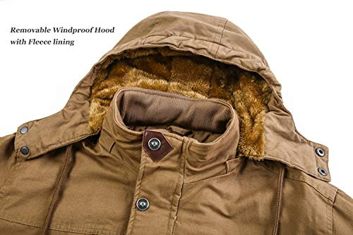 KEFITEVD Chaquetas de invierno para hombres de forro polar Windbeaker a prueba de viento con capucha bombardero chaqueta cargo Abrigos militares con múltiples bolsillos, caqui, M