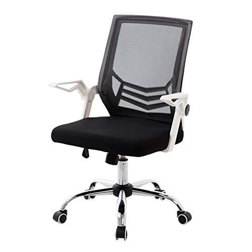 Comif-bureaustoel met roterende armleuningen, lift-verstelbare computerstoel, 180 kg lading, gewatteerd kussen, kantoorbenodigdheden (zwart, wit)
