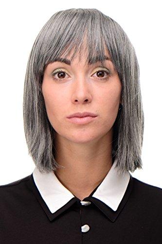 WIG ME UP ® - 7803-44 Sexy Wig Perücke Page Bob Dunkelgrau Grau-Braun-Mix glatt Frauenperücke Bobfrisur 25 cm