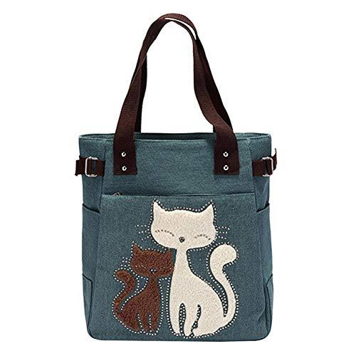 KTENME Handtasche aus Segeltuch mit Katzenmotiv, große Kapazität, Tierform, Handtasche für Strand, Einkaufen, Reisen, Business (Kaffee), grün (Grün) - QMF9GWU4KU