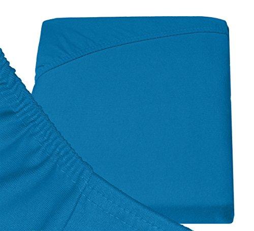 Double Jersey – Spannbettlaken 100% Baumwolle Jersey-Stretch bettlaken, Ultra Weich und Bügelfrei mit bis zu 30cm Stehghöhe, 160x200x30 Petrol - 6