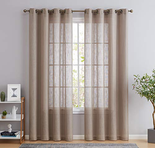 HLC.ME Abbey Faux Linen Textured Semi Sheer Privacy Light Filtering Transparent Window Grommet Floor Length Thick Curtains Drapery Panels for Bedroom & Living Room, 2 Panels (54 W x 84 L, Taupe)