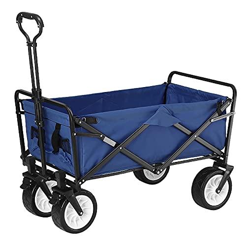 Carro de jardín Multifuncional, Plegable, Resistente, con Frenos de Rueda y manijas telescópicas, Estructura de Acero, Soporte de Carga de 220 LB, Azul