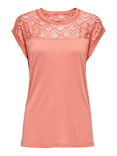 ONLY Womens ONLNICOLE S/S Mix TOP NOOS T-Shirt, Terra Cotta, L