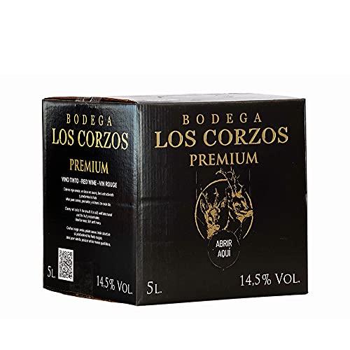 Bag in Box 5L Vino Tinto PREMIUM vino tinto con grifo y asa incorporada con la máxima calidad y uvas seleccionadas Bodega Los Corzos