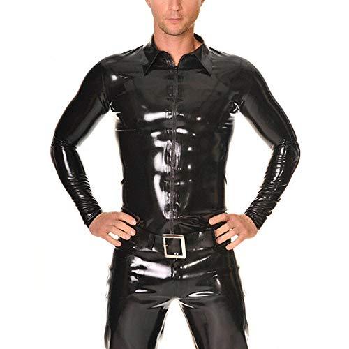 Camisa de látex Mangas largas Trajes ajustados de látex Cremallera frontal Ropa de goma de látex para hombres-Negro_XS