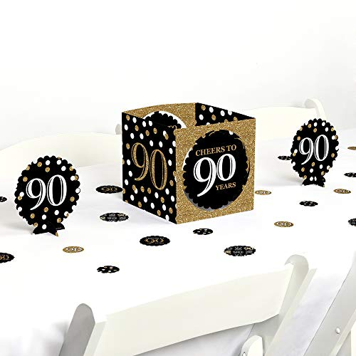 Big Dot of Happiness Adult 90th Birthday - Gold - Birthday Party Centerpiece & Table Decoration Kit