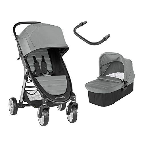 Baby Jogger City Mini 2 Duo Slate - Cochecito compacto de 4 ruedas + capazo + barra delantera en color gris
