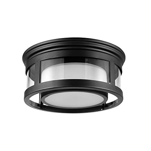 Globe Electric Brisbane 1-Light Outdoor Indoor Flush Mount Ceiling Light, Matte Black, Frosted Glass Shade 44480