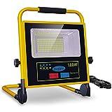 100W Faretto da cantiere LED Faretto LED da Esterno con Spina e Cavo, Luce solare a LED ricaricabile IP65 Impermeabile di emergenza Faro da lavoro per auto da pesca riparazione auto campeggio
