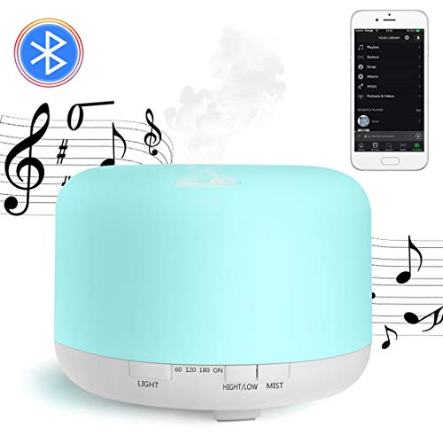 700ML Diffusore per aromaterapia musicale,Diffusore di Oli Essenziali,Umidificatore Ultrasuoni Altoparlanti Bluetooth 7 colori Luce notturna Purificatore aria Silenzioso Auto spegnimento Senza Acqua