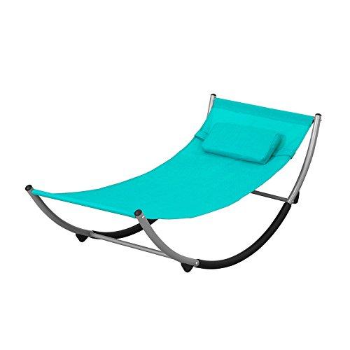 SoBuy KMB04-B Schaukelliege draußen Kinderschaukelstuhl mit Sicherheitsstopper Hängematte Kinderhängematte Schaukel für Kinder, blau BHT ca.:127x47x62cm