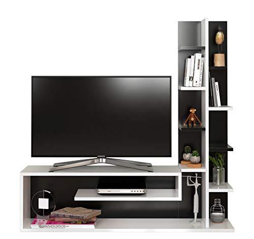 HOMIDEA Glory Set Soggiorno - Parete Attrezzata - Mobile TV Porta con mensola in Moderno Design (Bianco/Nero)