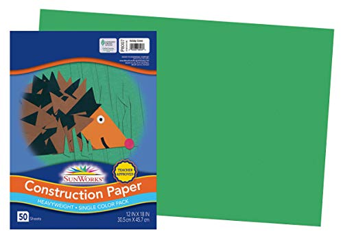 SunWorks Construction Paper, Holiday Green, 12' x 18', 50 Sheets