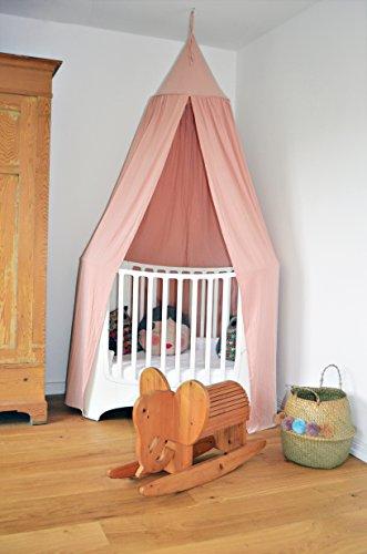 Betthimmel extra lang 300 x 270 cm Baldachin Baumwolle Kinderzelt Moskitonetz Vorhang (Rosa)