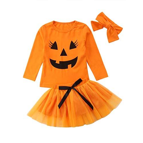 Carolilly Ensemble Halloween Enfant Bébé Fille T-Shirt Manche Longue + Jupe Tutu en Tulle + Bandeau, Orange, 120 (5 ans)