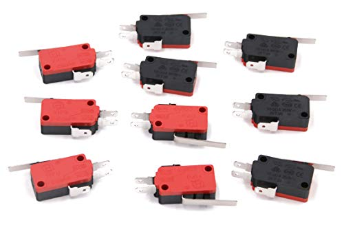 RuoFeng Micro Limit Switch Momentary Long Straight Hinge Lever Arm SPDT Snap Action LOT for Arduino 250V 16A V-153-1C25 Pack of 10