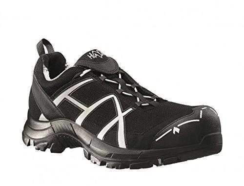 Haix® Black Eagle Safety 41 Low Black/Silver. Leichter S1P-Sicherheitsschuh mit silbernen Elementen