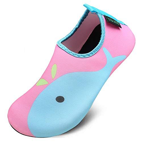 Unisex Kinder Aquaschuhe Schnell Trocknend Schwimmschuhe Slip On Breathable Wasserschuhe rutschfeste Beach Shoes,Delphin Rosa,24/25