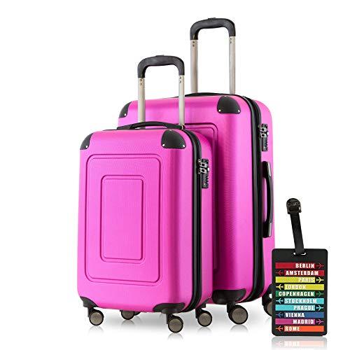 Happy Trolley - 2er Koffer-Set Trolley-Set Rollkoffer Hartschalen-Koffer Reisekoffer Lugano sehr leicht, TSA, (S+M), Pink + Design Kofferanhänger