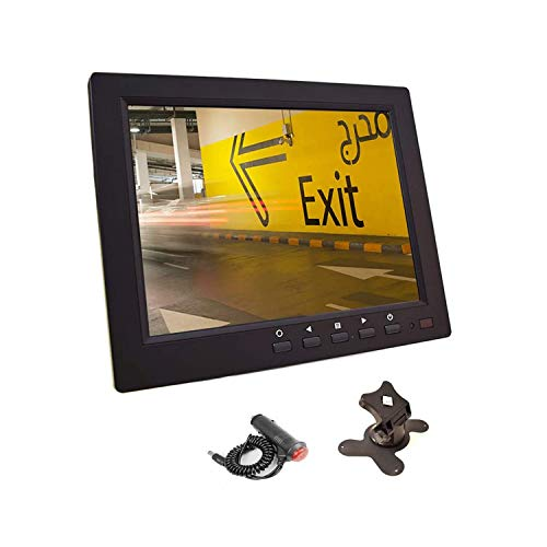8 inch CCTV Monitor, TFT LCD Security Screen with VGA HDMI AV BNC USB Audio in Out Ports Built-in Speaker, HD Display for Surveillance Camera STB 1024x768 Resolution with Car Power Adapter 12-24V