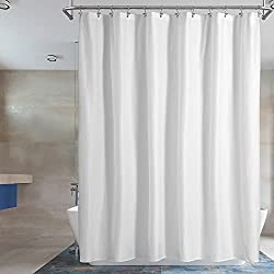 small Barrossa Design Waterproof Cloth Shower Curtains or Liners Hotel Quality, Machine Washable, White…