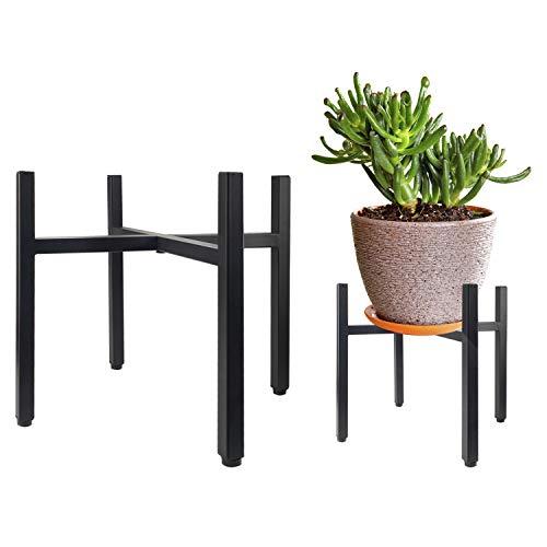 Urban Deco Pflanzenständer – 35,6 cm (14 Zoll) Mattschwarz Metall Indoor Outdoor Vintage Blumentopfständer – Blumenregal Eckpflanzenhalter für Wohnzimmer Balkon Garten Terrasse