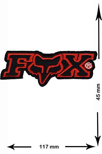 Parches - FOX - rojo negro - red black - BIG - motocicleta - Motocross - Bike - BMX - MTB - Car- Scooter- Racing - Parche Bordado - Termoadhesivo Apliques - Patch