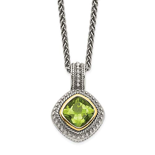 Sterling Silver and 14k Yellow Gold Peridot Necklace, 18'