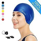 arteesol Badekappe - Silikon Badekappen Badehüte Anti-Rutsch wasserdichte Badekappe für Lange Haare Frauen und Männer (Blau)